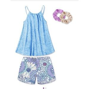 Blue Floral Mandala Pull-On Shorts & Scrunchie Set